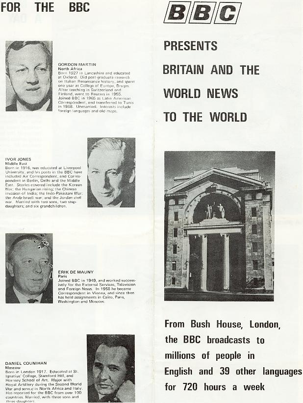 From  BBC External Services leaflet -- undated