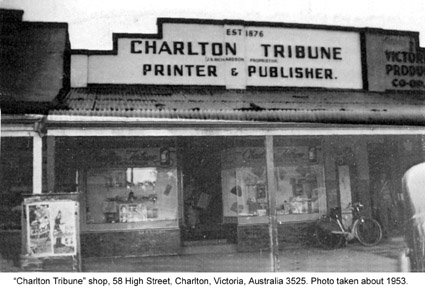 Charlton Tribune office, 58 High Street, Charlton. About 1953.