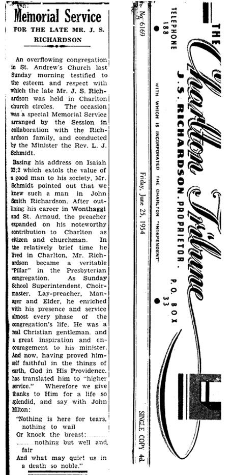 Charlton Tribune report of memorial service for John S. Richardson, June 1954