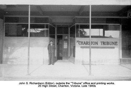 John Richardson outside Charlton Tribune office. Late 1940s.