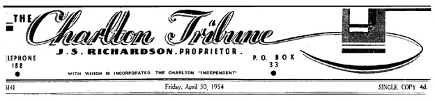 Charlton Tribune masthead, April 30, 1954